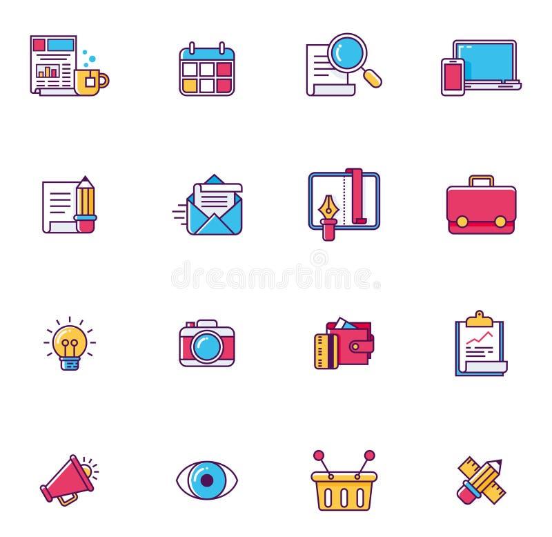 Símbolos universais lineares do página da web do vetor ilustração royalty free