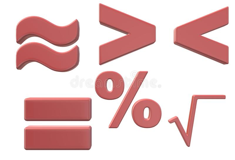 Símbolos usados no estudo elementar básico da matemática ilustração do vetor