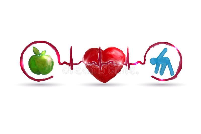 Símbolos vivos saudáveis dos cuidados médicos da aquarela ilustração stock