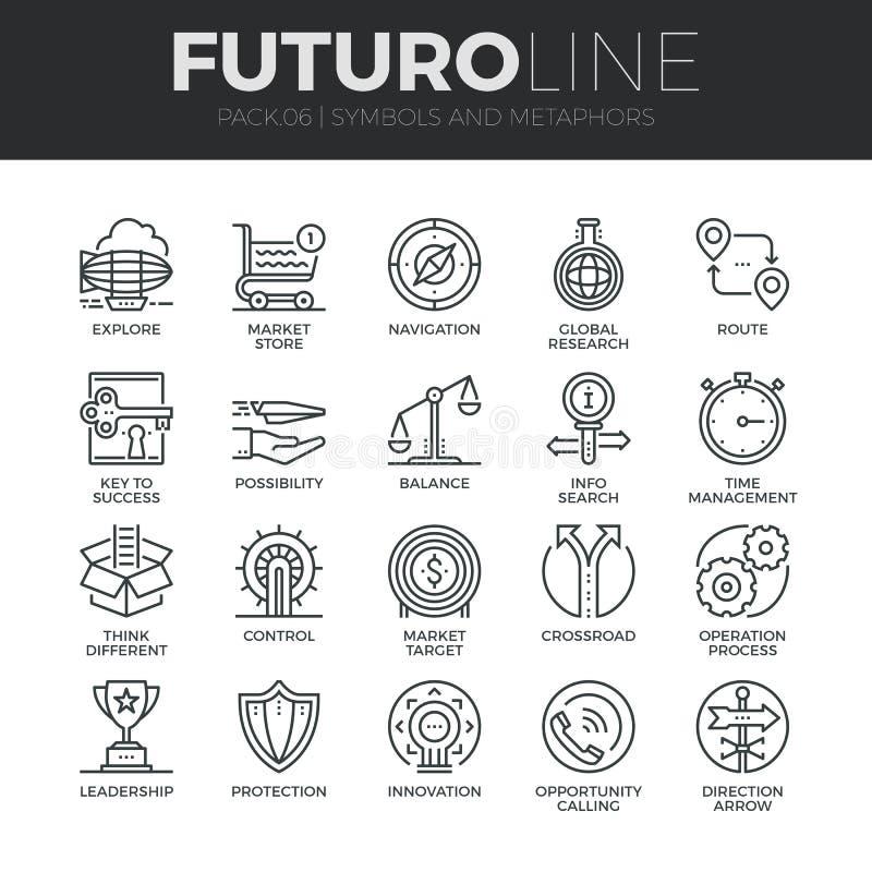 Símbolos y línea iconos de Futuro de las metáforas fijados ilustración del vector