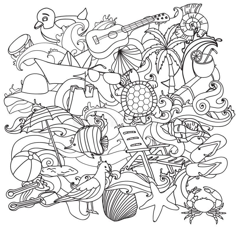 Símbolos y objetos dibujados mano del vector de la playa del verano stock de ilustración