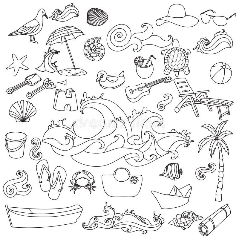 Símbolos y objetos dibujados mano del vector de la playa del verano ilustración del vector