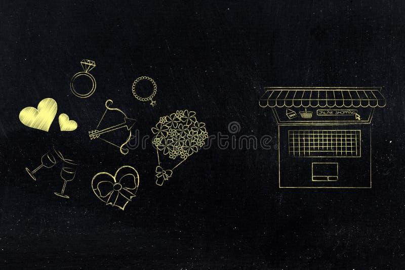 Símbolos y ordenador portátil del día de tarjetas del día de San Valentín con la tienda en línea ilustración del vector