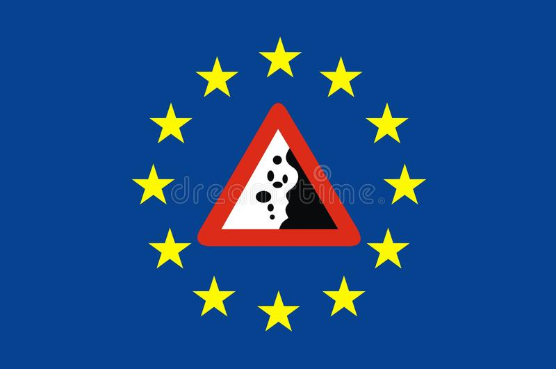 Símbolos y problemas de Europa ilustración del vector