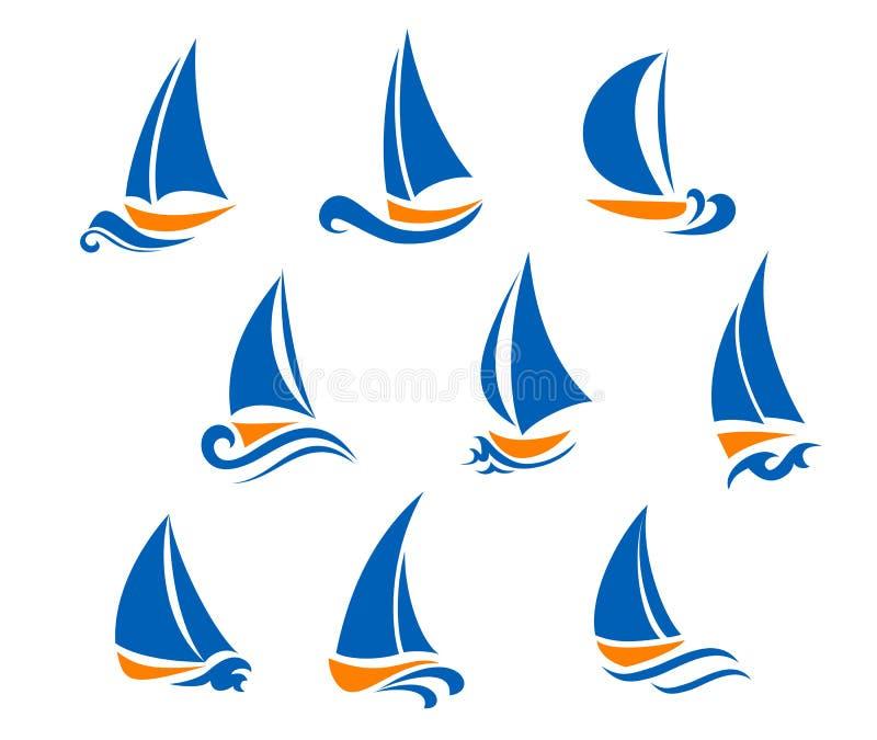 Símbolos Yachting e de regatta ilustração stock
