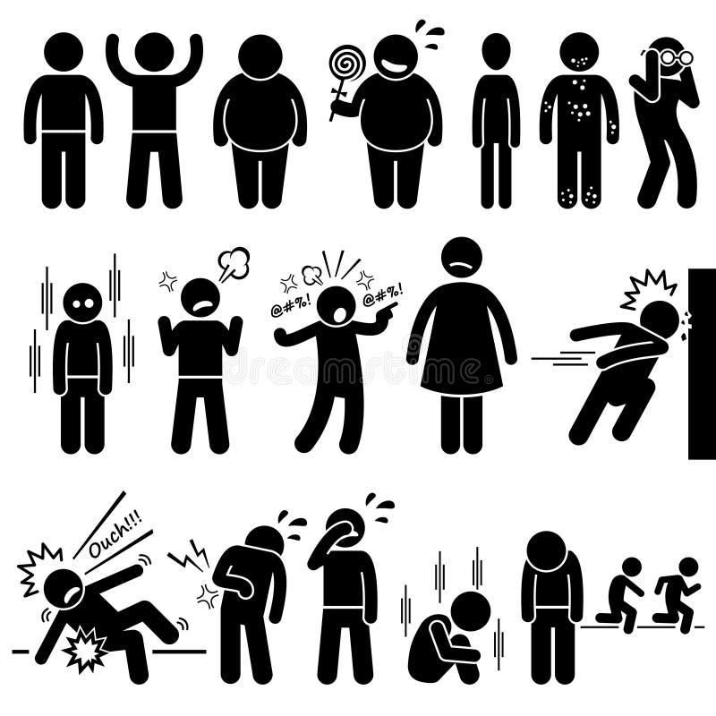 Síndrome física e mental Clipart da saúde de crianças do problema ilustração stock