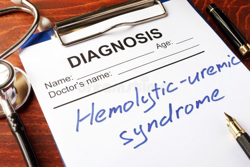 Síndrome Hemolytic-uremic HUS do diagnóstico imagens de stock