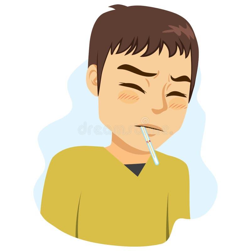 Síntoma de la fiebre del hombre ilustración del vector