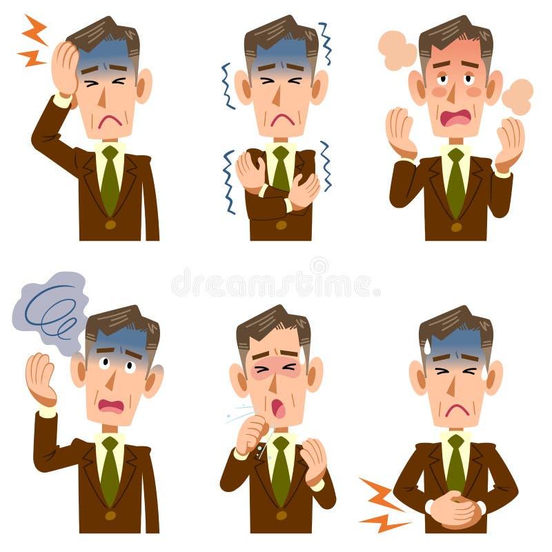 Síntomas de mediana edad y más viejos de la enfermedad 6 del hombre de negocios ilustración del vector