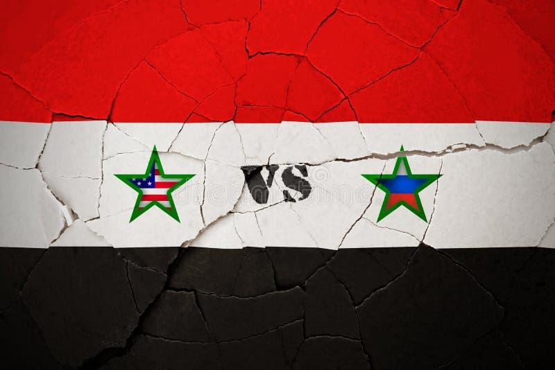 SÍRIA, o 14 de abril de 2018 - EUA contra Rússia sobre Síria ilustração do vetor