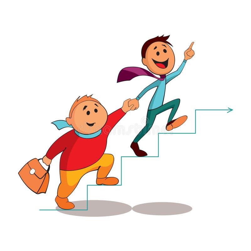 Sócios comerciais que escalam a escada da carreira ilustração royalty free