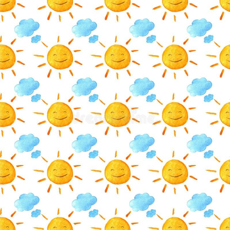 Sóis e nuvens de sorriso felizes engraçados Teste padrão bonito brilhante dos desenhos animados Ilustração Handpainted da aquarel ilustração stock