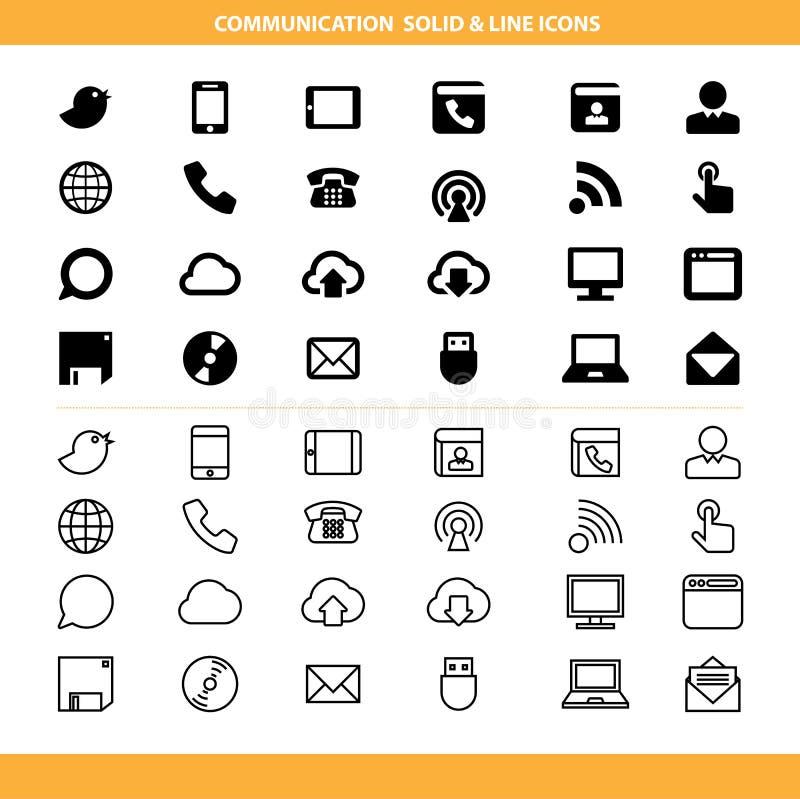Sólido de uma comunicação e linha ícones ajustados ilustração stock