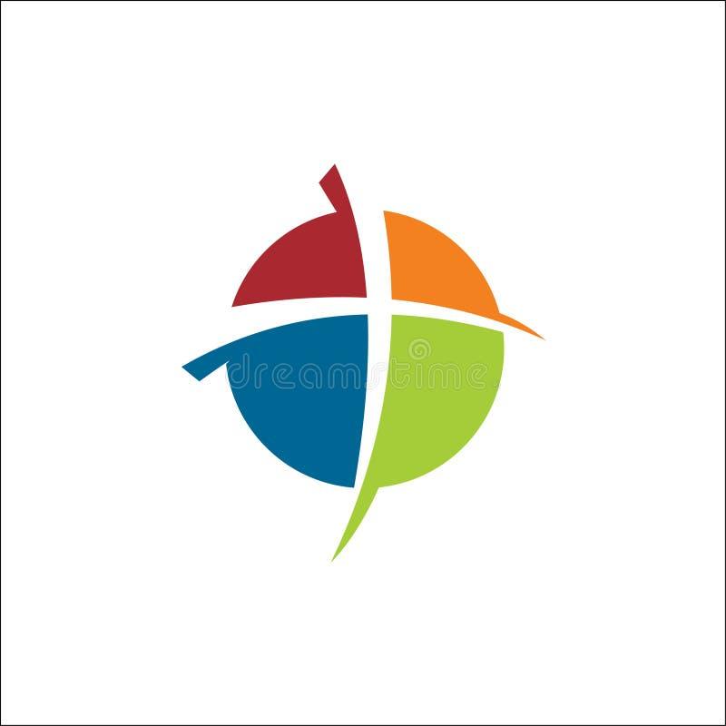 Sólido do círculo do logotipo do ícone da igreja ilustração do vetor
