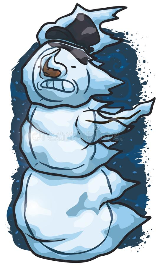 Sólido hombre de nieve congelado en una fría tormenta de invierno, ilustración vectorial stock de ilustración