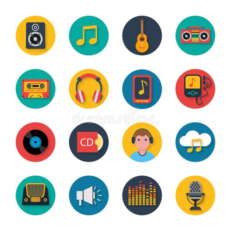 Sólido redondo móvil fijado iconos de la música libre illustration