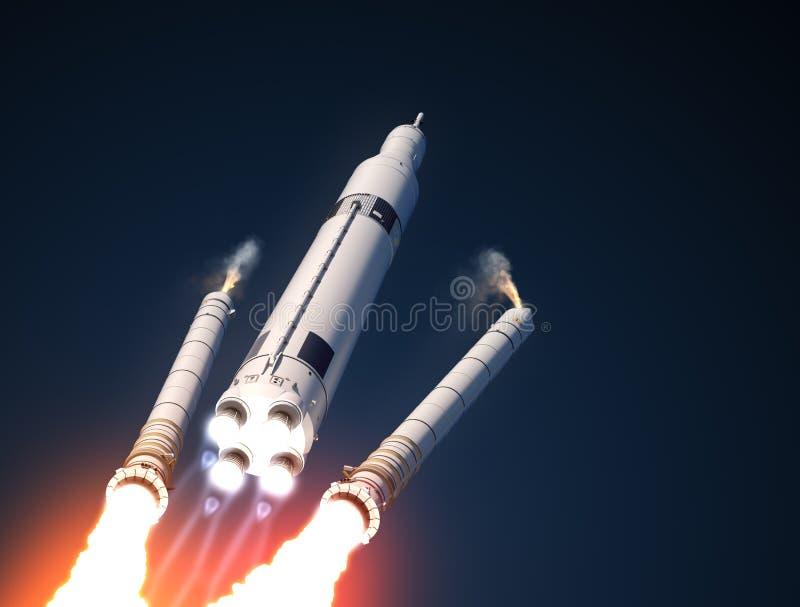 Sólido Rocket Boosters Separation del sistema del lanzamiento del espacio stock de ilustración