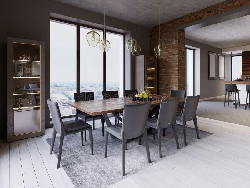 Sótão acolhedor com mesa de jantar, cadeiras e cremalheiras do armazenamento ilustração stock