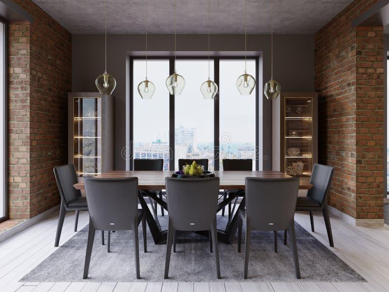 Sótão acolhedor com mesa de jantar, cadeiras e cremalheiras do armazenamento ilustração do vetor