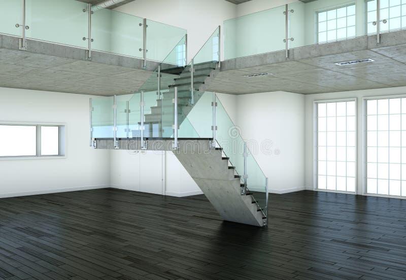 Sótão moderno com dois assoalhos, janelas e parquet ilustração royalty free