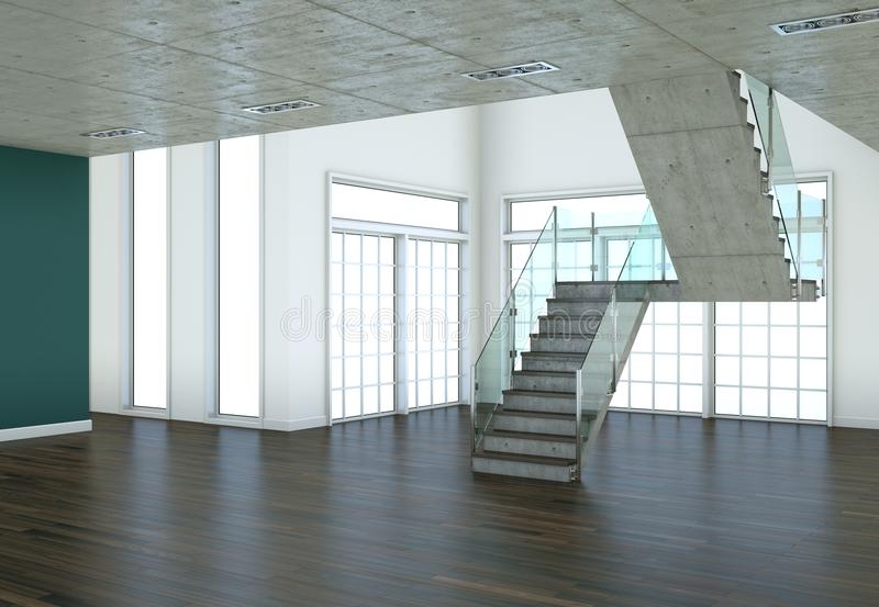 Sótão moderno com dois assoalhos, janelas e parquet ilustração do vetor