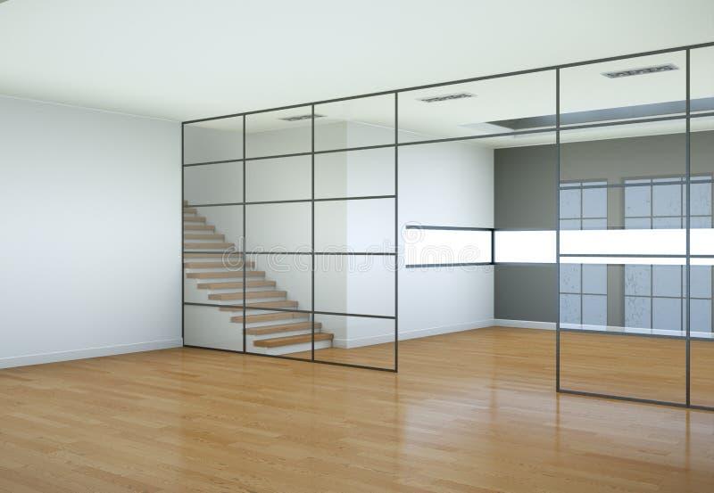 Sótão moderno com dois assoalhos, janelas e parquet ilustração stock
