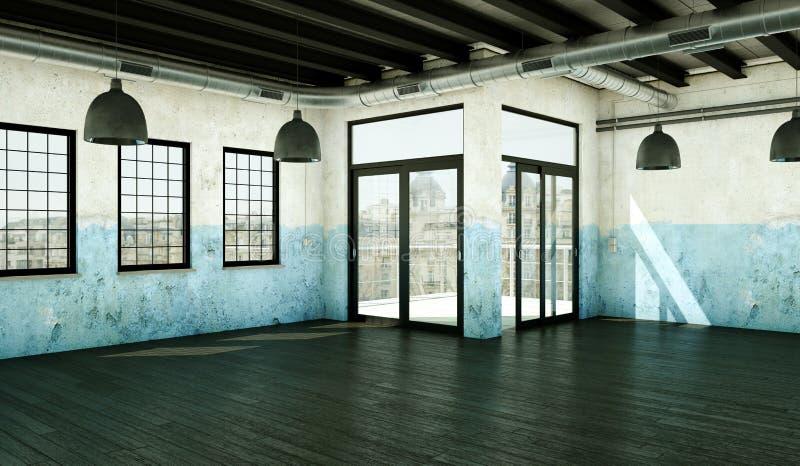 Sótão vazio com paredes, as janelas e o parquet resistidos ilustração do vetor