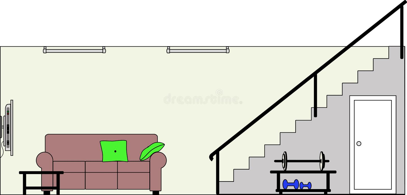 Sótano con muebles ilustración del vector. Ilustración de muebles ...