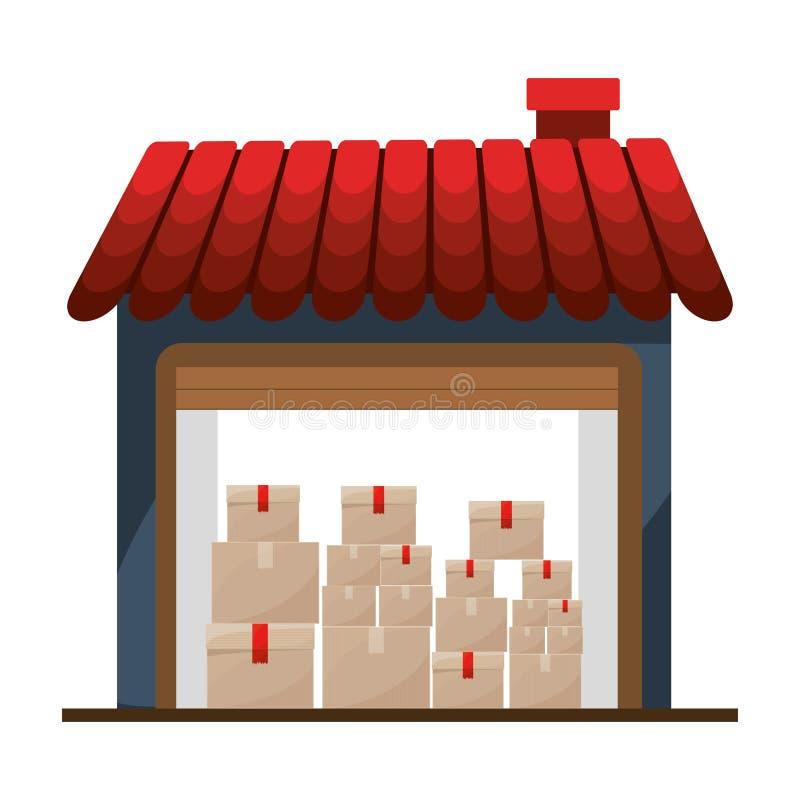 Sótano del almacenamiento con el paquete múltiple stock de ilustración
