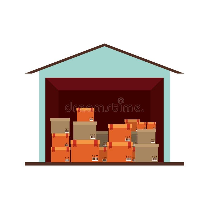 Sótano del almacenamiento con el paquete múltiple ilustración del vector