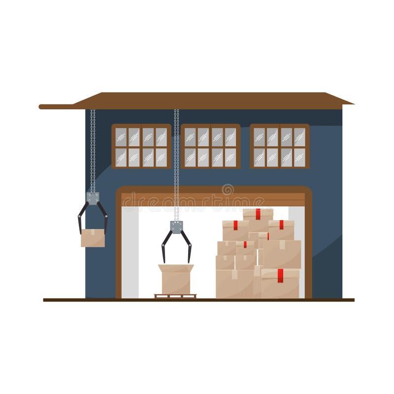 Sótano del almacenamiento con los paquetes y los mecánicos de la grúa stock de ilustración