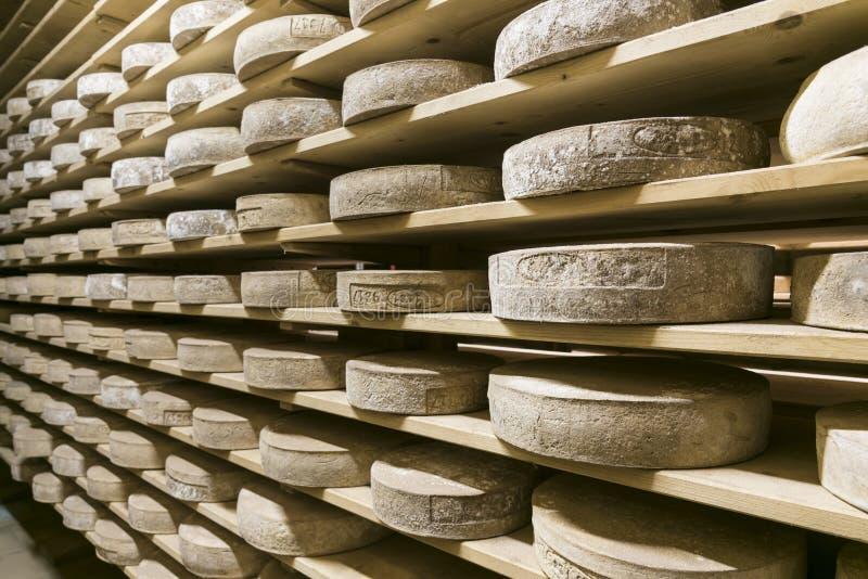 Sótano italiano del queso en granja de la montaña fotografía de archivo