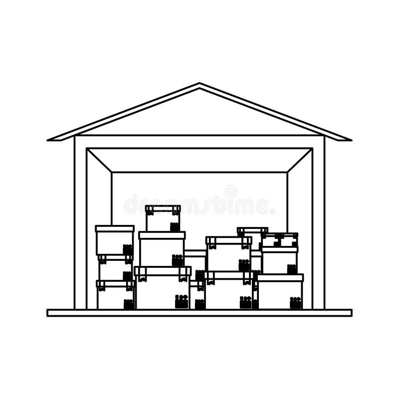 Sótano negro del almacenamiento del contorno de la silueta con el paquete múltiple ilustración del vector