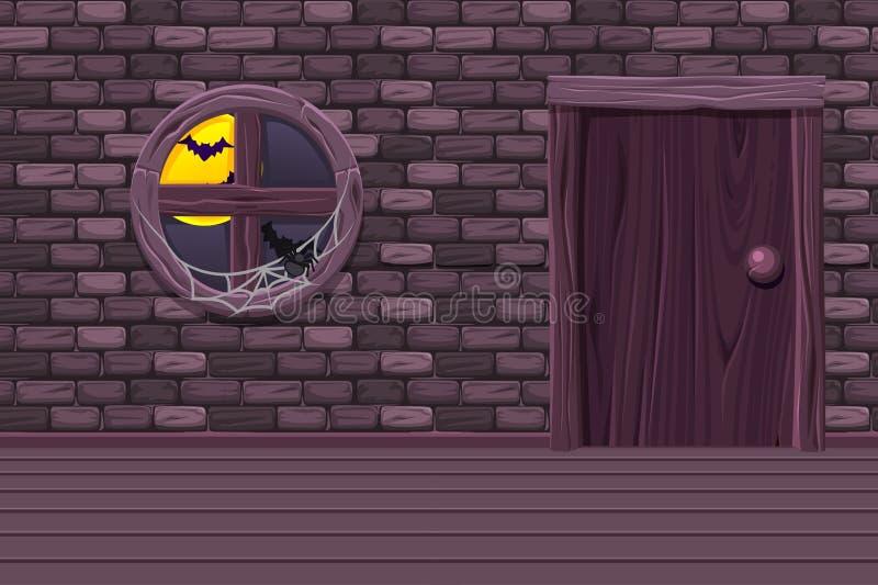 Sótano púrpura de la casa, sitio interior del ejemplo con la ventana vieja, puerta y pared de piedra ilustración del vector