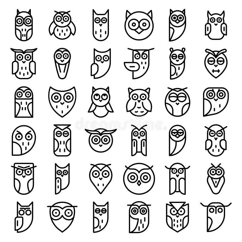 Sów ikony ustawiać, konturu styl royalty ilustracja