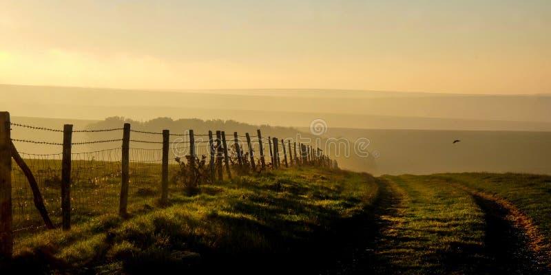 Söder besegrar, East Sussex, UK, ett landsgrändspår som leder in i arkivbild