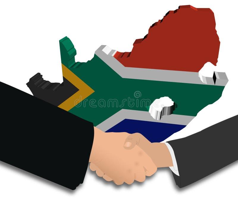 södra översikt för africa flaggahandskakning royaltyfri illustrationer