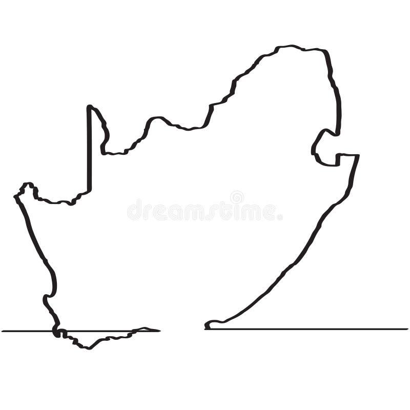 södra africa översikt Fortlöpande linje vektor illustrationer