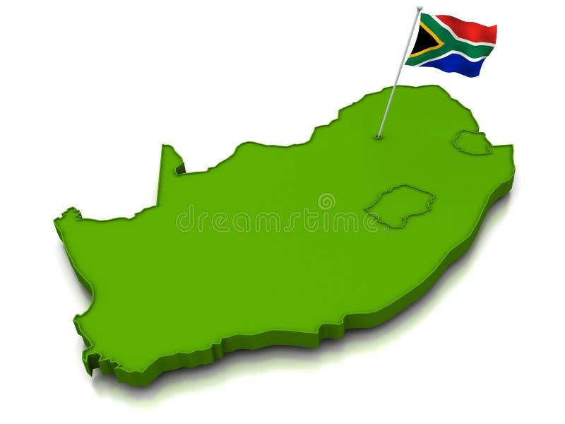 södra africa flaggaöversikt stock illustrationer