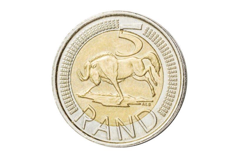 Södra - afrikan 5 rand mynt royaltyfri foto