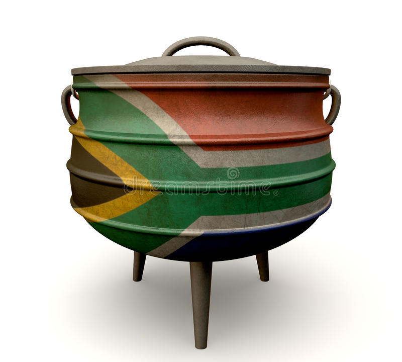 Södra - afrikanPotjie kruka målad flagga