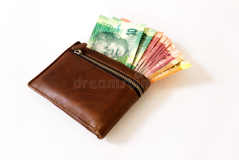 Södra - afrikansk Rand i plånbok arkivbild