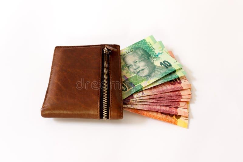 Södra - afrikansk Rand i plånbok royaltyfria foton