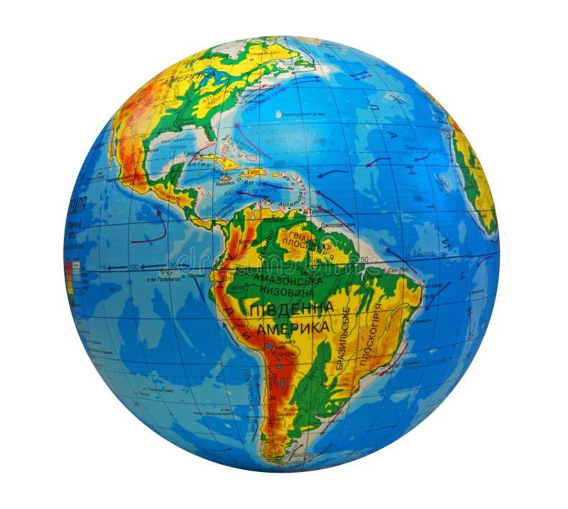 södra Amerika center jordklot royaltyfri bild