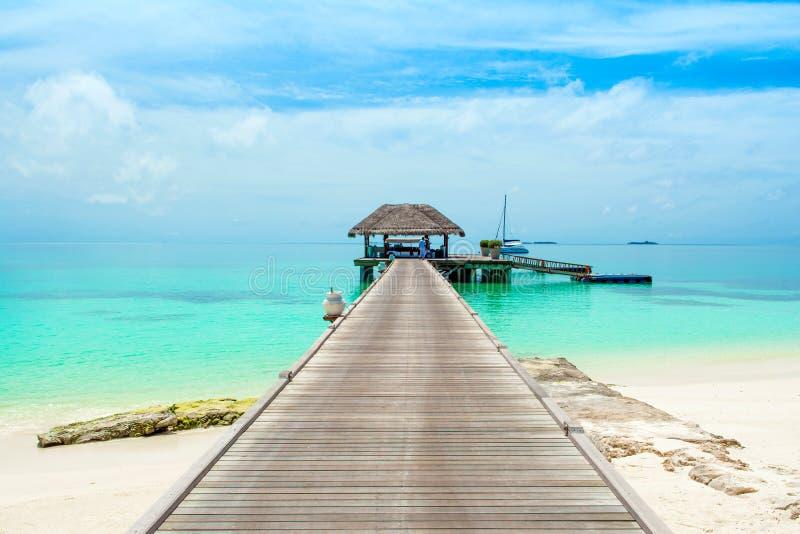 Södra Ari Atoll, Dhidhoofinolhu, Maldiverna - 4 Juli 2017: Overwat arkivfoto