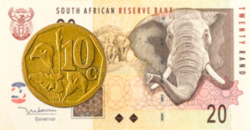 södra - det afrikanska aforikamyntet mot södra 20 - afrikansk rand 10 royaltyfria foton