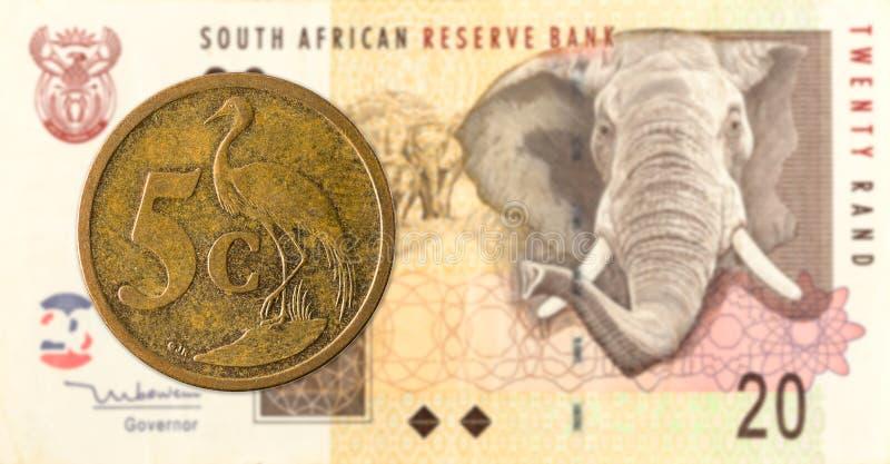 södra - det afrikanska aforikamyntet mot södra 20 - afrikansk rand 5 royaltyfri bild