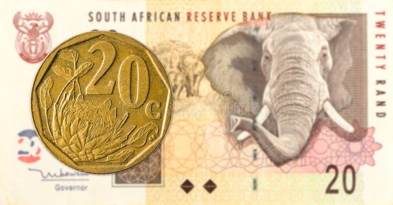 södra - det afrikanska aforikamyntet mot södra 20 - afrikansk rand 20 royaltyfri bild