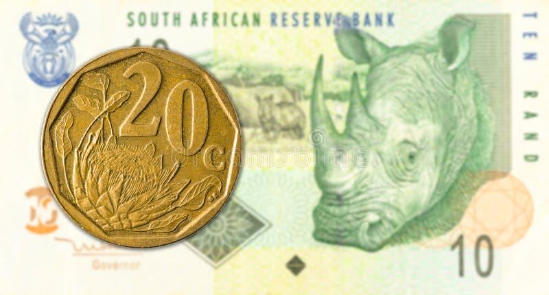 södra - det afrikanska aforikamyntet mot 10 söder - afrikansk sedel för rand 20 royaltyfri fotografi