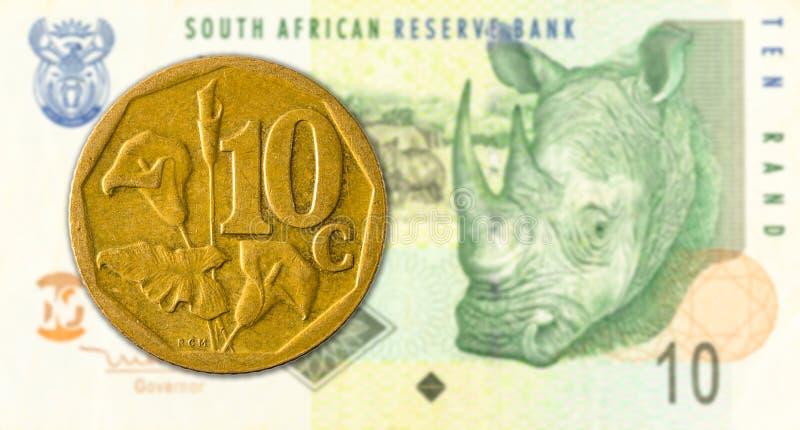 södra - det afrikanska aforikamyntet mot 10 söder - afrikansk sedel för rand 10 arkivfoton